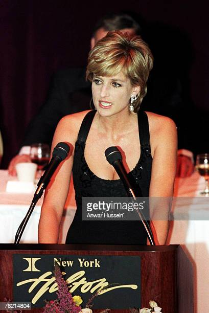 Diana Princess of Wales makes a speech after receiving her award as Humanitarian of the Year from Henry Kissinger at a Cerebal Palsy Dinner on...