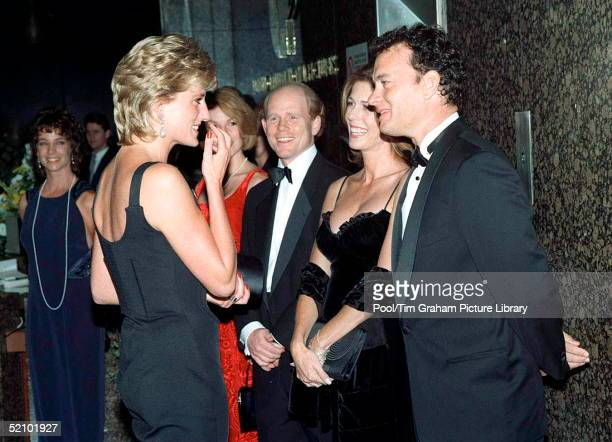 Diana Princess Of Wales Meeting Actor Tom Hanks With His Wife Rita Wilson And Director Ron Howard At A Film Preview Of 'apollo 13' In London