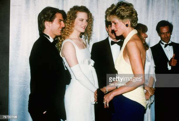 Diana Princess of Wales meets actors Tom Cruise and Nicole Kidman at the premiere of 'Far and Away' at the Leicester Square Empire Cinema She is...