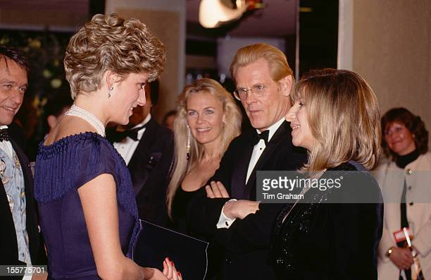 Diana Princess of Wales meets American actors Nick Nolte and Barbra Streisand at the UK premiere of their film 'The Prince of Tides' London 18th...