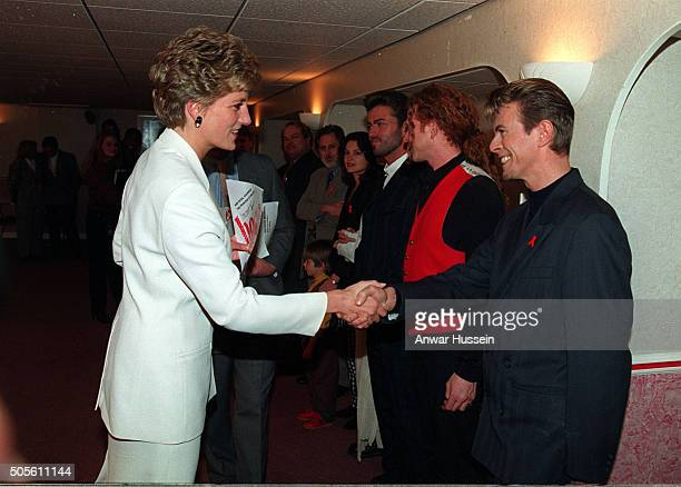 Diana Princess of Wales meets David Bowie backstage at Wembley Arena at a concert to mark World Aids Day on December 01 1993 in London England