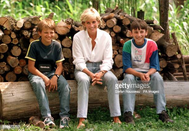 Diana Princess of Wales meets Malic Bradoric a Muslim boy and a Serb Zarco Beric both of whom have been injured by landmines near Tuzla in Bosnia