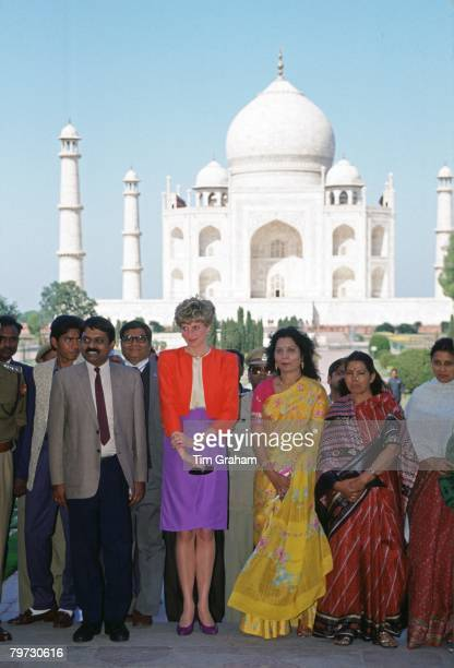 Diana Princess of Wales meets people during a visit to the Taj Mahal in India