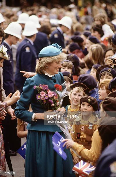 Diana Princess of Wales meets the crowd on a walkabout through the city centre on April 20 1983 in Wellington New Zealand during the Royal Tour of...
