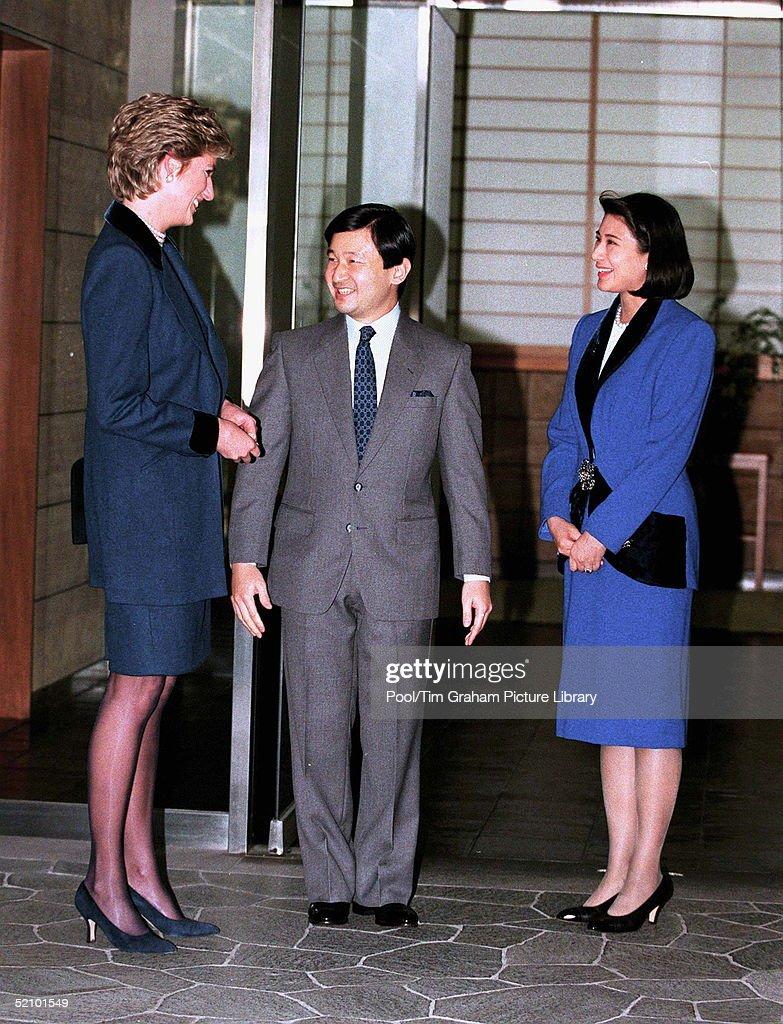 Diana, Princess Of Wales Meets The Crown Prince Naruhito And Crown Princess Masako Of Japan.