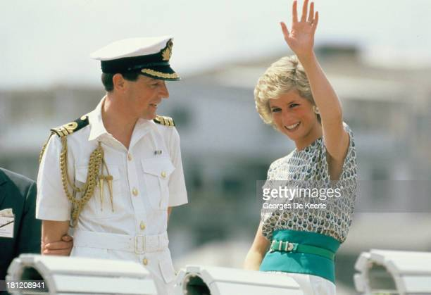 Diana Princess of Wales on a river cruise with naval officer commander Richard Aylard during her official visit to Bangkok on February 5 1988 in...