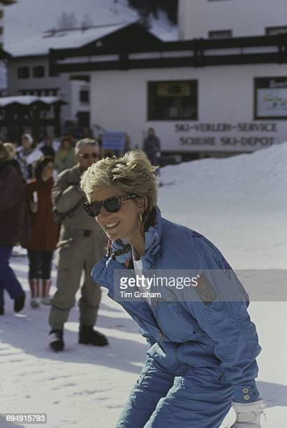Diana Princess of Wales on a skiing holiday in Lech Austria 1st April 1993