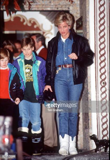 Diana Princess Of Wales On A Skiing Holiday In Lech Austria With Prince William And Prince Harry