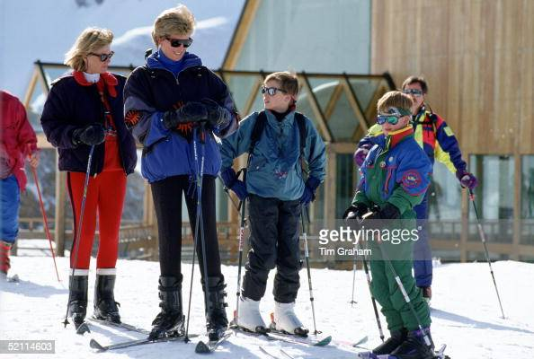 Diana Princess Of Wales On A Spring Skiing Holiday With Her Sons Prince William And Prince Harry And Her Friend Kate Menzies