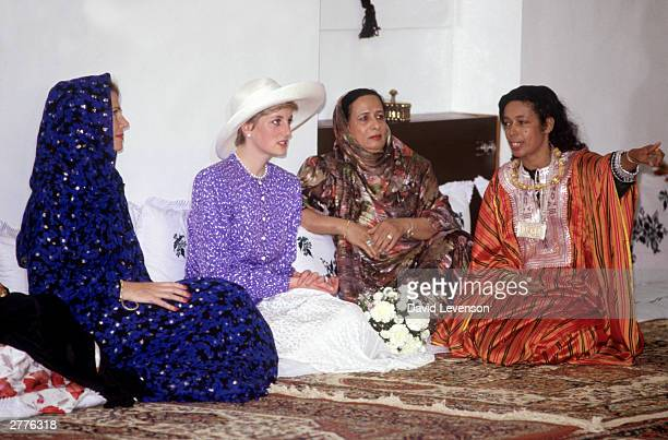 Diana Princess of Wales on a visit to Oman in November 1986 during the Royal Tour of Oman Diana wore an outfit designed by Jacques Azagury