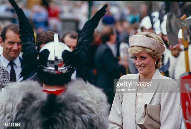 Diana Princess of Wales on a visit to The Shetland Isles on July 24 in Shetland Scotland