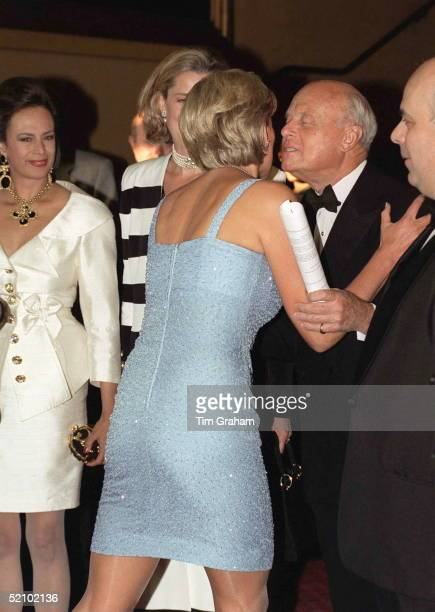 Diana Princess Of Wales Patron Of The English National Ballet Being Greeted With A Kiss And An Embrace On Her Arrival For The Royal Gala Performance...