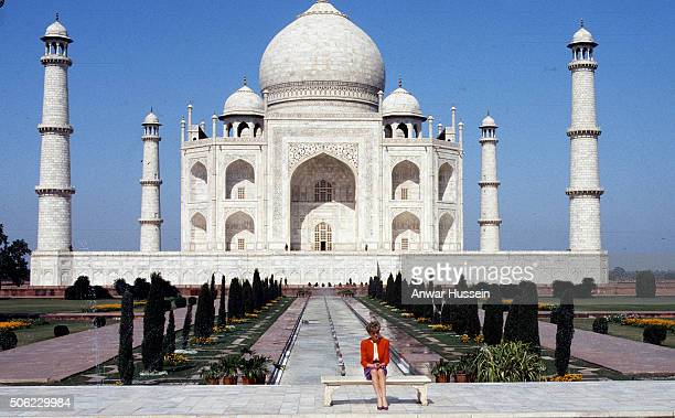 Diana Princess of Wales poses alone at the Taj Mahal during her visit in India on February 11 1992 12 years earlier her husband the Prince of Wales...