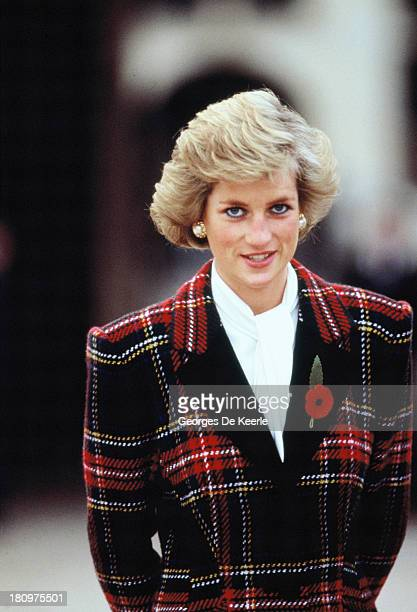 Diana Princess of Wales poses outside Chateau de Chambord during her official visit to France on November 9 1988 in Chambord France