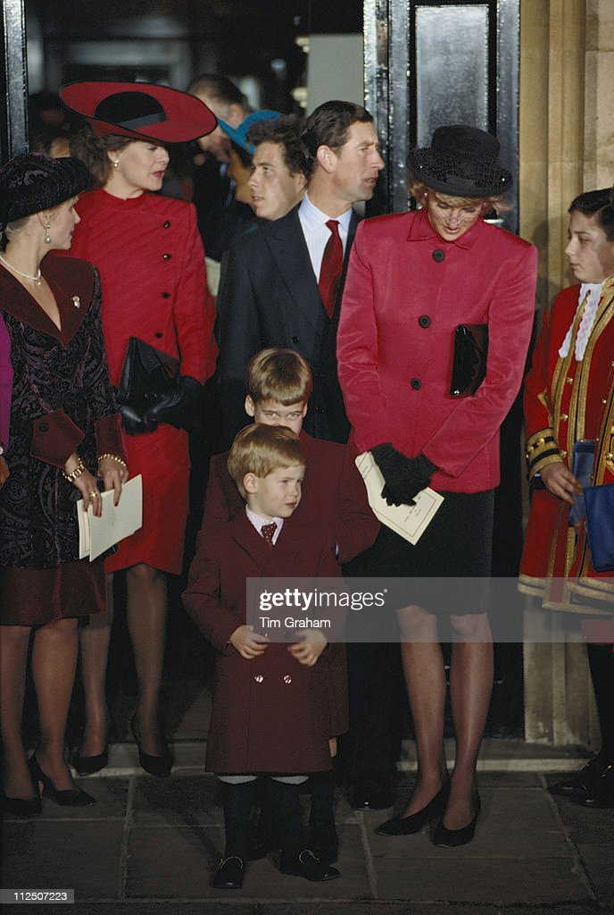 Diana, Princess of Wales (1961-1997), <a gi-track='captionPersonalityLinkClicked' href=/galleries/search?phrase=Prince+Charles&family=editorial&specificpeople=160180 ng-click='$event.stopPropagation()'>Prince Charles</a> and their two sons Prince William and <a gi-track='captionPersonalityLinkClicked' href=/galleries/search?phrase=Prince+Harry&family=editorial&specificpeople=178173 ng-click='$event.stopPropagation()'>Prince Harry</a>, attending the christening of Princess Beatrice at the Chapel Royal, St James's Palace, London, England, Great Britain, 20 December 1988.