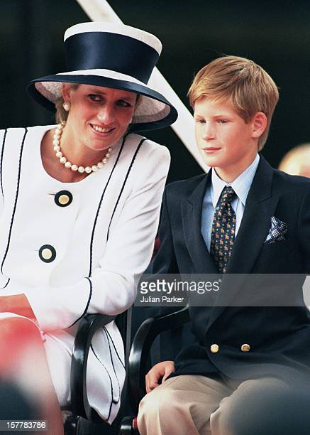 Diana Princess Of Wales Prince Harry Attend The Vj Day 50Th Anniversary Celebrations In London
