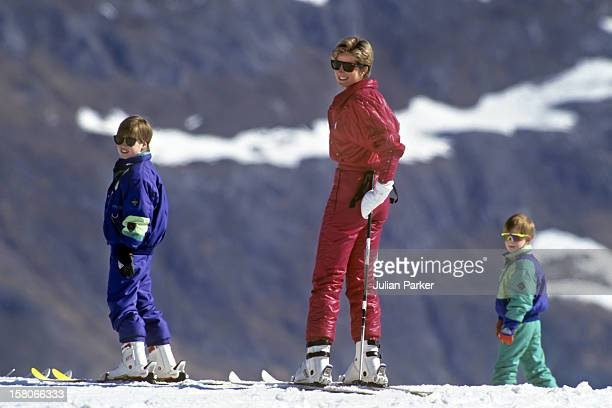 Diana Princess Of Wales Prince William And Prince Harry Skiing In Lech Austria
