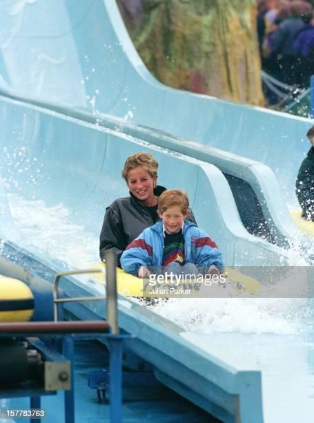 Diana Princess Of Wales Prince William Prince Harry Visit The 'Thorpe Park' Amusement Park