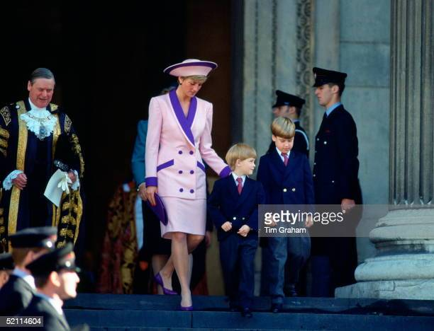 Diana Princess Of Wales Puts A Reassuring Hand On Her Son's Shoulder As He Leaves St Paul's Cathedral Prince Harry And Prince William Accompanied...
