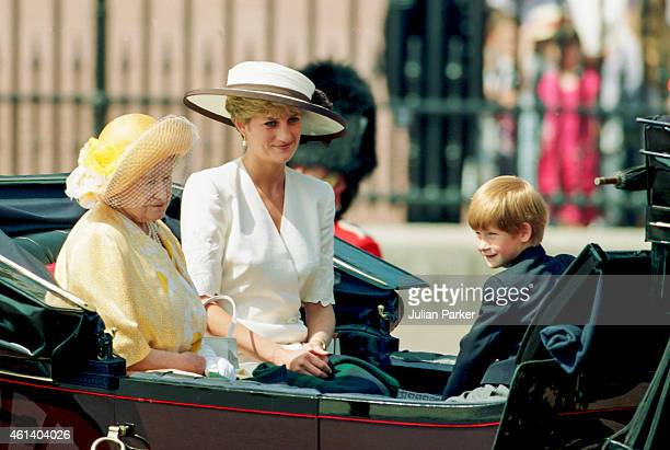 Diana Princess of Wales Queen Elizabeth The Queen Mother and Prince Harry attend the Trooping The Colour Ceremony on June 13 1992 in London United...