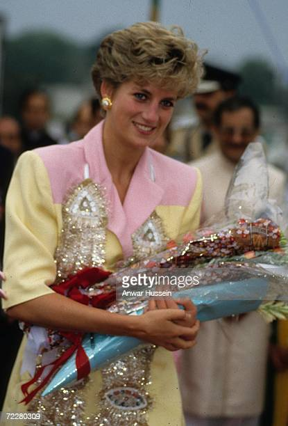 Diana Princess of Wales receives flowers on September 26 1991 in Islamabad Pakistan