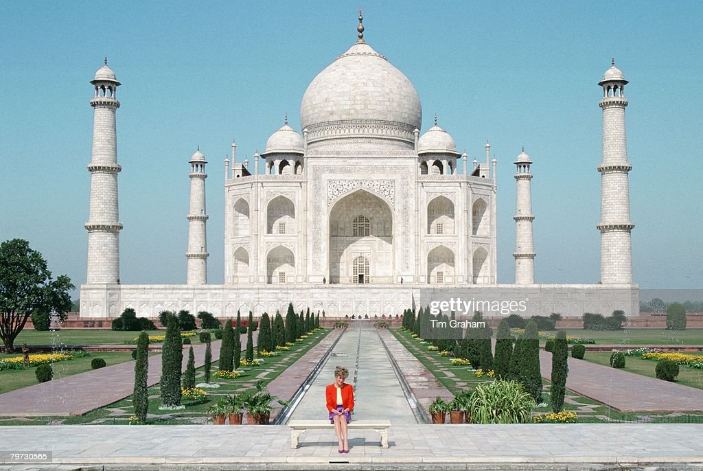 Diana Princess of Wales sits in front of the Taj Mahal during a visit to India