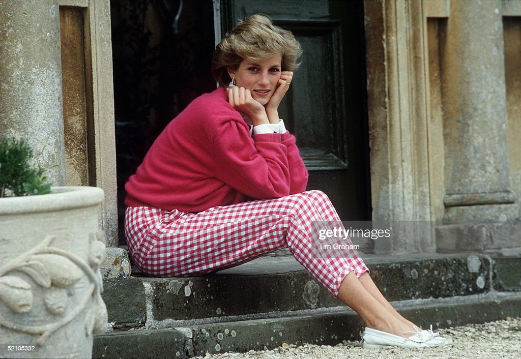 Princess Diana Resting Her Head In Her Hands Whilst Sitting On The Steps Of Her Home At Highgrove, Gloucestershire.