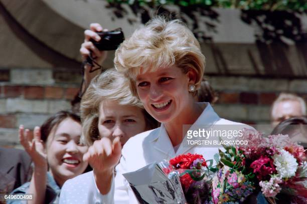 Diana Princess of Wales smiles as she meets wellwishers outside St Vincent's Hospice in Sydney on November 2 her last official engagement in...