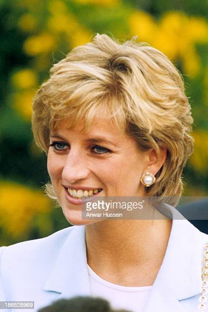 Diana Princess of Wales smiles during a visit to Argentina on November 25 1995 in Patagonia Argentina