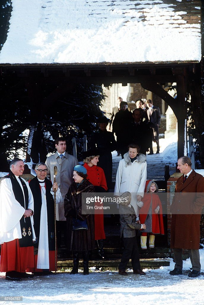 Diana, Princess Of Wales, Smiling And Joking With Prince Philip As They Leave Sandringham Church In The Snow After Attending Christmas Day Service With Princess Anne And Her Children, Zara And Peter, Queen Elizabeth Ll And Prince Andrew.