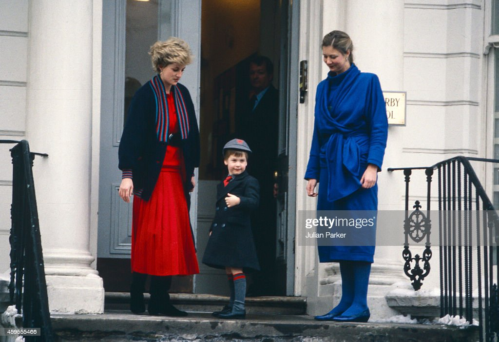 Diana, Princess of Wales, takes Prince William to his first day at Wetherby School, welcomed by School Headmistress, Frederika Blair Turner ( right ), on January 15, 1987 in London, United Kingdom.
