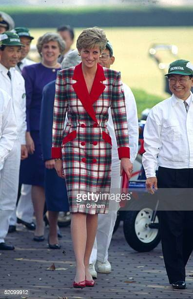 Diana Princess Of Wales Visiting The Honda Factory During Her Official Tour Of Japan Wearing A Tartan Coat Dress With Designed By Fashion Designer...