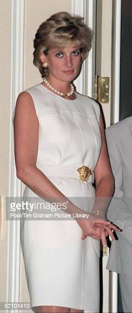 Diana Princess Of Wales Visiting The Hospice In The North Western Memorial Hospital In Chicago USA She Is Wearing A Dress By Fashion Designer Versace
