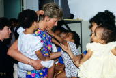 Diana princess of wales visits a hostel for abandoned children in sao picture id79732255?s=170x170