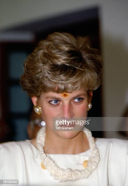 Diana Princess of Wales visits Hyderabad in India wearing a traditional bindi mark on her forehead