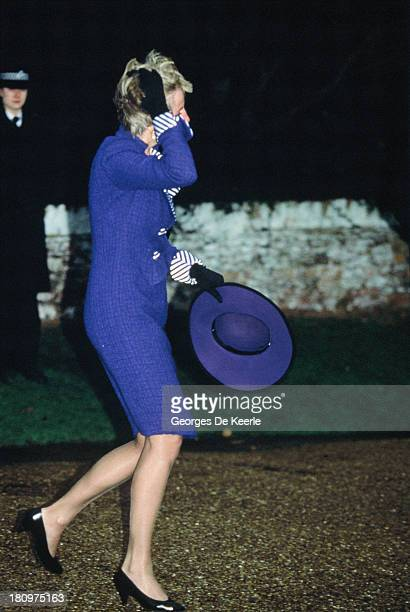 Diana Princess of Wales walks to Sandringham Church for Christmas Day Service on December 25 1990 in Sandringham England