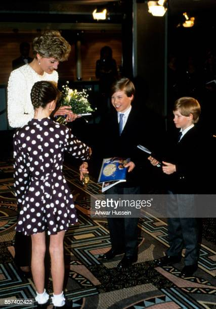 Diana Princess of Wales Prince William and Prince Harry visit Great Ormand Street Hospital for Children on April 05 1992 in London England
