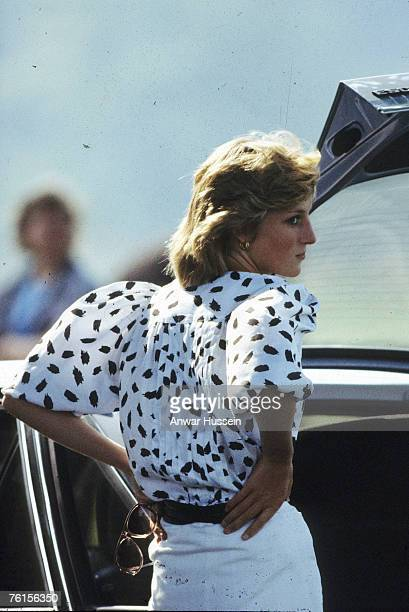 Princess Diana Princess of Wales attends a polo match wearing black and white blouse in June 1983 in England