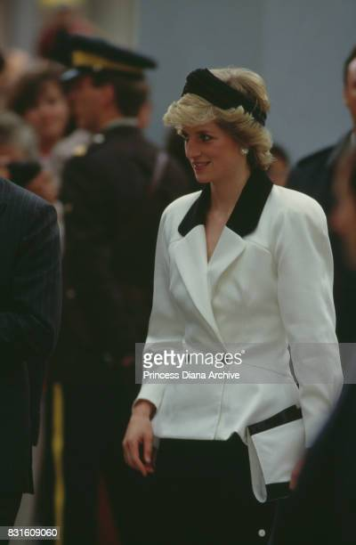 Diana Princess of Wales wearing a black and white suit designed by Bruce Oldfield arrives at 1986 Expo in Vancouver Canada May 1986