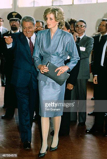 Diana Princess of Wales wearing a Bruce Oldfield suit during a visit to Milan 22nd April 1985