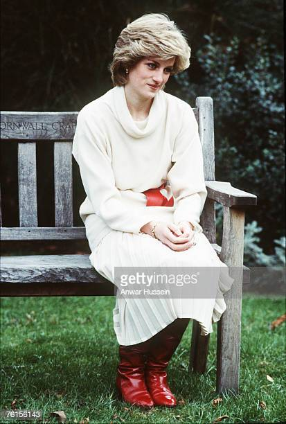 Diana Princess of Wales in Kensington Palace gardens looking lonely in December 1983