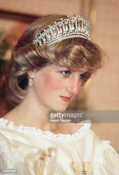 Diana Princess of Wales smiles while wearing tiara in New Zealand during April 1983