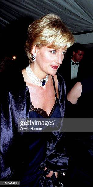 Diana Princess of Wales wearing a John Galliano dress arrives for a Costume Institute Ball at the Metropolitan Museum of Art on December 09 1996 in...