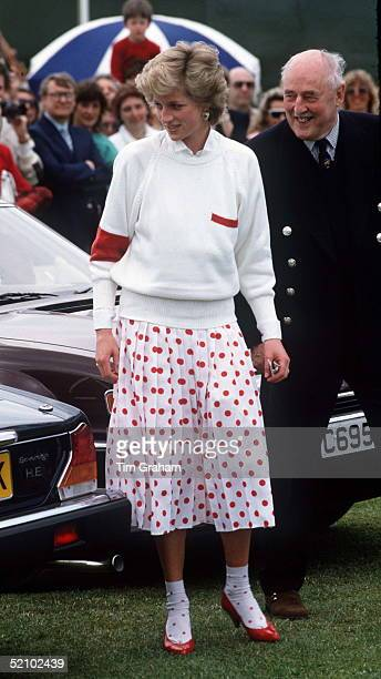 Diana Princess Of Wales Wearing A Mondi White Skirt With Red Polka Dots With Matching Ankle Socks At A Polo Match In Windsor