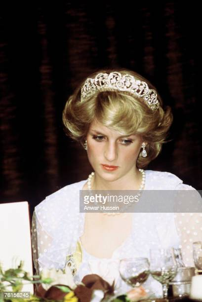 Diana Princess of Wales looks pensive while wearing tiara in New Zealand during April 1983