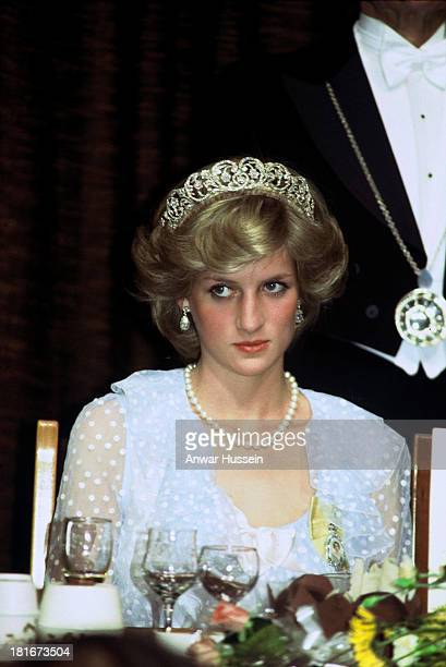 Diana Princess of Wales wearing a pale blue evening dress by David and Elizabeth Emanuel attends a banquet on April 20 1983 in New Zealand