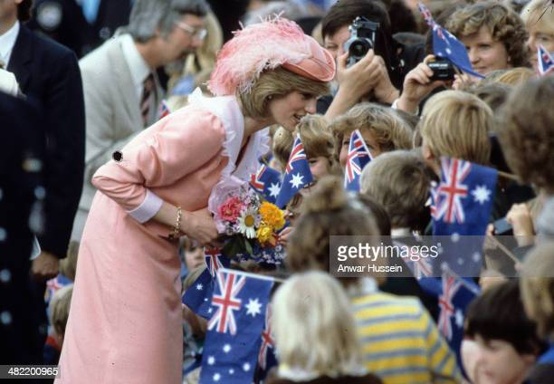 Princess Diana Princess of Wales is greeted by the public during a walkabout on March 25 1983 in Canberra Australia