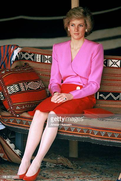 Diana Princess of Wales at the Islamic Museum in Kuwait The Princess wearing a red and pink outfit designed by fashion designer Catherine Walker...
