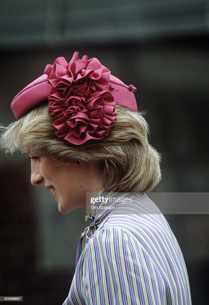 Diana, Princess Of Wales, Wearing A Pink Hat With A Silk Rosette On One Side Designed By Milliner John Boyd Which The Princess Has Teamed With A Silk Crepe De Chine Striped Suit By David Neil And Julia Fortescue During Her Official Tour Of Australia.