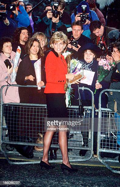 LONDON JANUARY 18 Diana Princess of Wales meets the public at the launch of Childline's 10th anniversary appeal at the Savoy Hotel on January 18 1996...